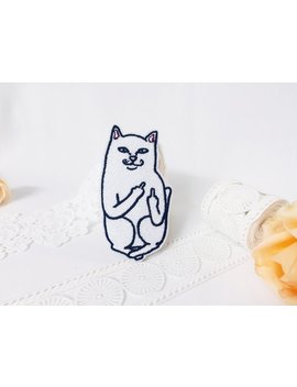 White Cat Give The Finger Patch/Iron On Patch/Embroidered Patch/Cute Animal Patch/Cartoon Patch/Diy by Littlebraid