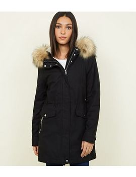Black Faux Fur Hooded Parka Jacket by New Look