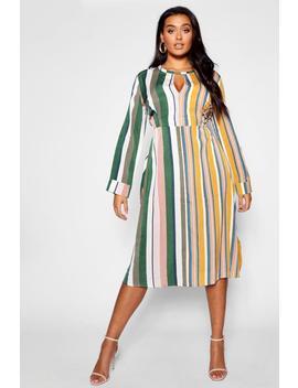Plus Woven Stripe Midi Dress by Boohoo