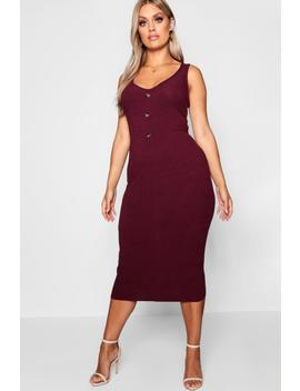 Plus Button Ribbed Midi Dress by Boohoo