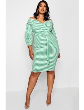 Plus Stripe Off Shoulder Wrap Midi Dress by Boohoo