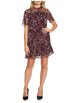 Scarlet Dream Floral Mystery Ruffled Shift Dress by Cece