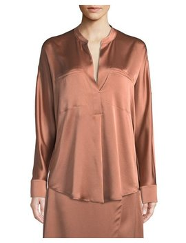 Band Collar Silk Popover Blouse by Vince