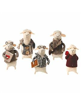 Felted Wool Cute And Decorative Sheep   Set Of 5 by Catalog Classics