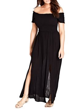 Smocked Off The Shoulder Maxi Dress by City Chic