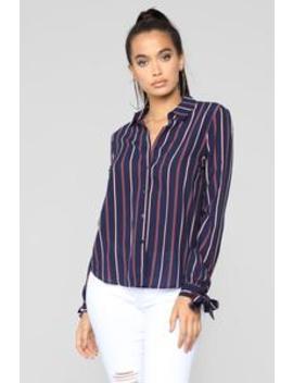 Yaretza Striped Top   Navy by Fashion Nova