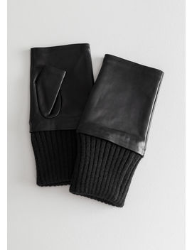 Leather Fingerless Mittens by & Other Stories