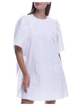 Shirred Sleeveless Cotton Eyelet Dress by English Factory