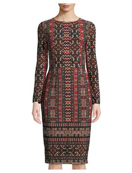 Long Sleeve Global Tile Sheath Dress by Maggy London