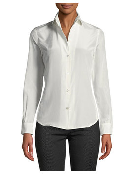 Satin Button Front Blouse by Leon Max