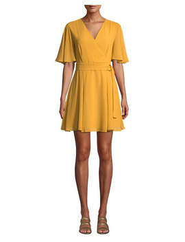 Belted Flutter Sleeve Mini Dress by Allison New York