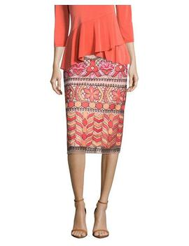 Embroidered Midi Pencil Skirt by 5 Twelve