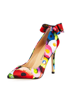 Verity High Heel Floral Bow Pumps by Neiman Marcus
