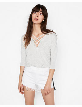 Express One Eleven Gray Strappy Front London Tee by Express