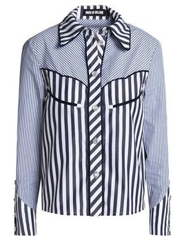 Paneled Striped Cotton Poplin Shirt by House Of Holland