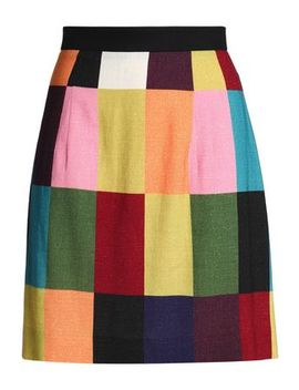 Color Block Brushed Woven Mini Skirt by House Of Holland