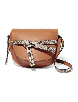 Gate Small Python Trimmed Textured Leather Shoulder Bag by Loewe