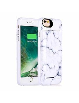 I Phone 8, I Phone 7, I Phone 6 Battery Case, Marble Series   3500m Ah Ultra Slim Extended Battery Backup Charging Case Charger Pack Power Bank   White by Cxcase