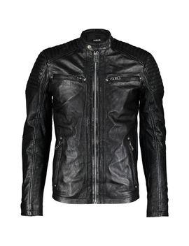 Black Leather Biker Jacket by Solid Denmark
