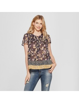 Women's Short Sleeve Smocked Mixed Print Peasant Top   Knox Rose™ Black by Knox Rose™