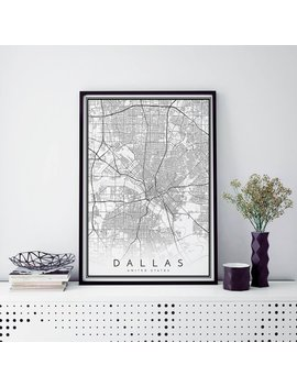 Dallas Map, Minimalist Map Print, Minimal Map, Dallas, Poster, Modern Map Print, Modern Map Art Poster In Size 50x70cm Fits Ikea Frame by Mapologist
