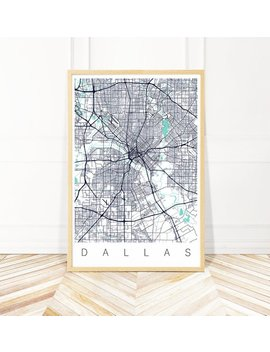 Dallas Map Art Framed Map Of Dallas Texas City Map Print Of Dallas Tx Framed Dallas Print Dallas Poster Texas Wall Art Modern Farmhouse Art by Wayfinder Creative