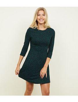 Green Leopard Print 3/4 Sleeve Swing Dress by New Look