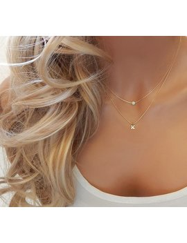 Layered Opal Birthstone Initial Necklace • Bridesmaid Gift • Dainty Personalized Letter Gemstone Jewelry Gold Silver • Girlfriend Gift by Simple And Layered