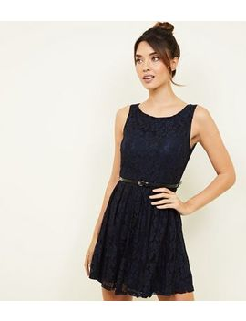 Mela Navy Lace Belted Skater Dress by New Look