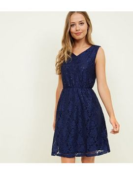 Mela Navy Glittery Lace Skater Dress by New Look