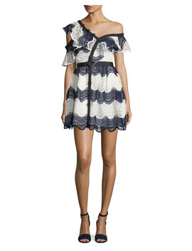 Wave Lace Frill One Shoulder Cocktail Mini Dress by Neiman Marcus