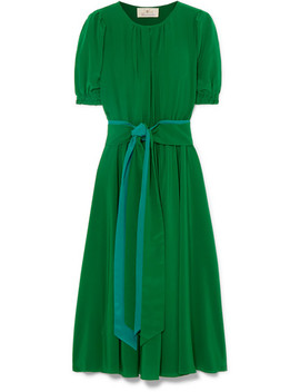 Brooke Belted Silk Crepe De Chine Midi Dress by A Ross Girl X Soler
