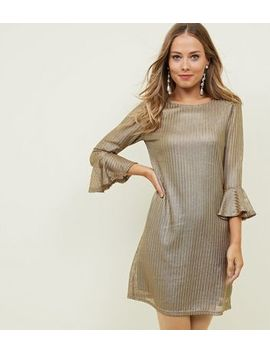 Mela Gold Textured Bell Sleeve Dress by New Look