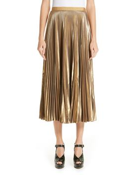 Pleated Metallic Skirt by Dries Van Noten