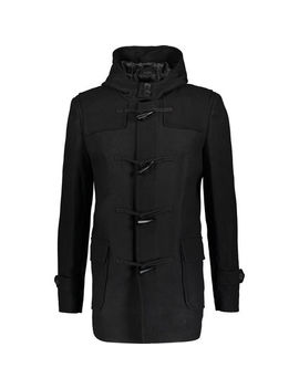 Black Wool Blend Duffle Coat by French Connection