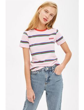 Love Stripe T Shirt by Topshop