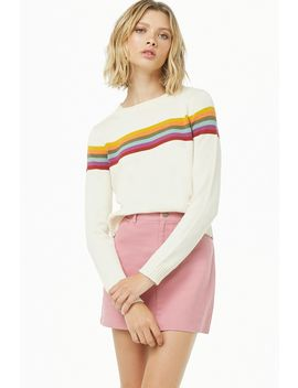 Ribbed Trim Multistriped Sweater by Forever 21