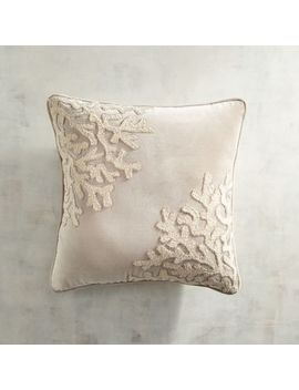 Beaded & Embroidered Coral Gray Pillow by Pier1 Imports