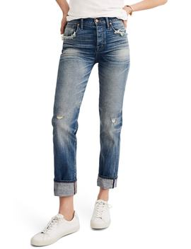 Selvedge Distressed Straight Leg Jeans by Madewell