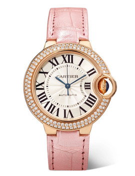 Ballon Bleu De Cartier 33mm 18 Karat Pink Gold, Alligator And Diamond Watch by Cartier