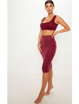 Black Lurex Midi Skirt by Prettylittlething