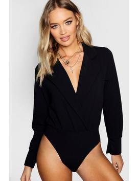 Tuxedo Style Wrap Bodysuit by Boohoo