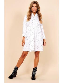 Micro Polka Dot Tie Front Shirt Dress by Boohoo