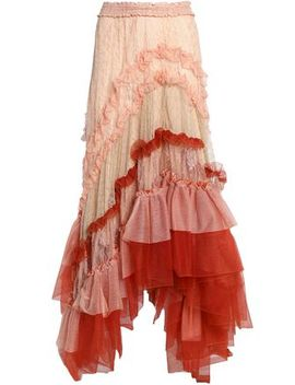 Asymmetric Ruffled Tulle And Lace Maxi Skirt by ChloÉ