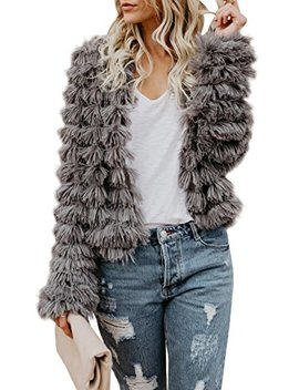 Womens Open Front Faux Fur Coat Vintage Parka Shaggy Jacket Cardigan by Faisean