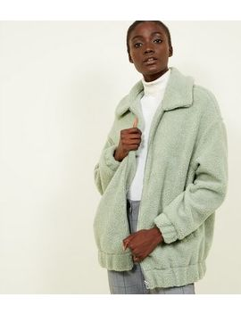 Light Green Faux Teddy Fur Bomber Jacket by New Look
