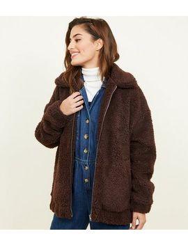 Dark Brown Faux Teddy Fur Bomber Jacket by New Look