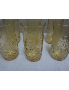 Vintage Anchor Hocking Spring Song Honey Gold Flat Iced   Glasses by Ebay Seller