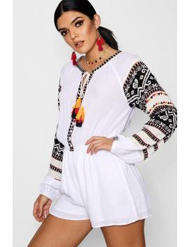 Belle Boho Multi Tassel Trim Smock Style Playsuit by Boohoo
