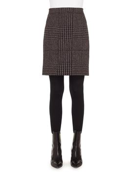 Metallic Houndstooth Jacquard Miniskirt by Akris Punto